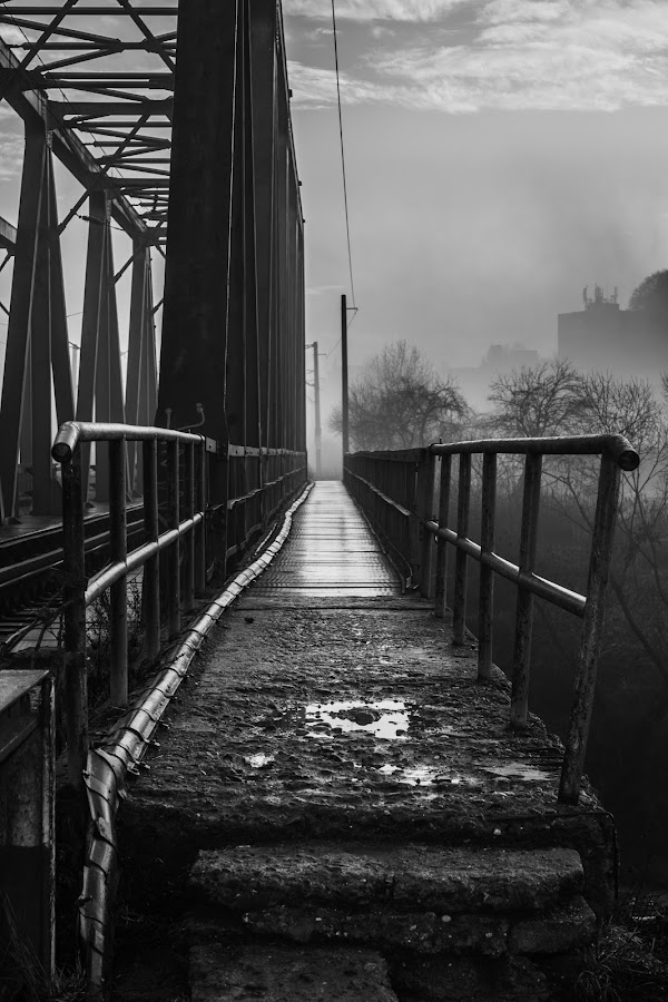 Black and white path by Raul Alexandru - Black & White Buildings & Architecture ( metal, black and white, under )