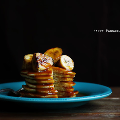 Coconut Pancakes with Grilled Bananas and Salted Caramel Rum Sauce
