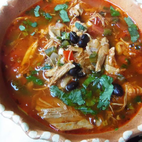 Chicken and Black Bean Soup in Red Chile Broth