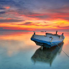 Sisi lain aja by Rawi Wie - Transportation Boats ( sunset, cloud, beach, landscape, boat )