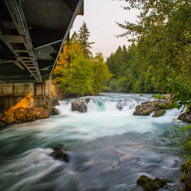Husum Falls by Mats Nordgren - Landscapes Waterscapes ( water, husum falls, waterfall, bridge, river )