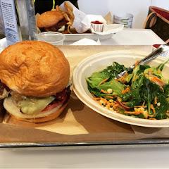 Gfree bacon burger and garden salad.