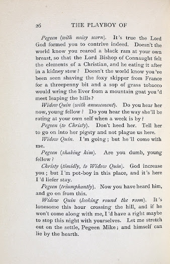 In Pegeen's insulting tirade to Widow Quin, the incident takes on a distinctly sacrilegious character. (1/2)