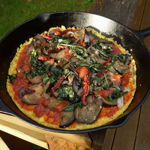 Polenta Pizza with Kale and Eggplant