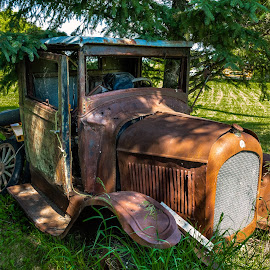 Old Car in Field by Dave Lipchen - Transportation Automobiles ( old car )