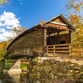 Humpback Bridge in Autumn Colors by Norma Brandsberg - Buildings & Architecture Bridges & Suspended Structures ( old, mountain, photograph, www.elegantfinephotography.com, midland, landscape, alleghany highland, norma brandsberg, photography, hiking, turnpike, jackson, area attraction, creek, trail, weekend, photographer, 64, kanawha, trip, opportunities, black, quaint, covered, 1857, humpback bridge, white, scenic, photo opportunity, james, nbrandsberg@gmail.com, charm, covington virginia, county, top thing to do, scene, shenandoah valley, river )