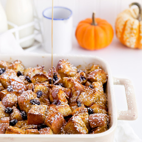 Cinnamon Raisin Pumpkin French Toast Bake
