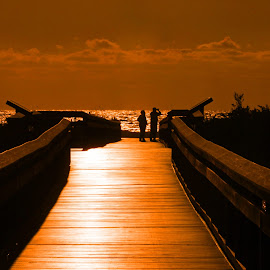 Sunset Pier by Steve Shelasky - Landscapes Sunsets & Sunrises ( orange, relax, florida, sunset, g;pw, pier, seascape, tranquil, relaxing, tranquility )