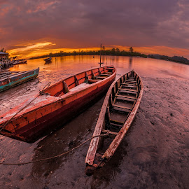 Fishy Sampan by Eric Tai - Transportation Boats ( fisheye, sunset, long exposure, landscape, river,  )