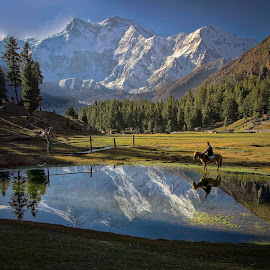 NANGA PARBAT THE KILLER MOUNTAIN by Tahsin Shah - Landscapes Mountains & Hills ( mountains, nature, horse, lake, forest, landscape )