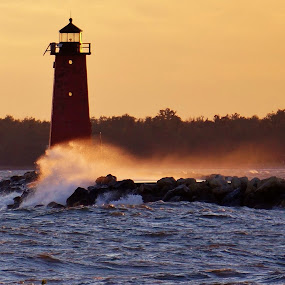 Sunset Lighthouse by Jim Czech - Landscapes Waterscapes ( michigan, lake michigan, sunset, shoreline, lighthouse, coast,  )