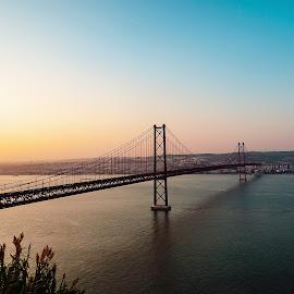 Ponte 25 de Abril, Lisboa by Paweł Mielko - Buildings & Architecture Bridges & Suspended Structures ( landscapes, lisbon, lisboa, portugal, sunset, bridge, bridges, europe, landscape, architecture )