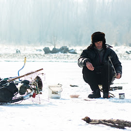 Fisherman by Ciprian Chirila - People Portraits of Men ( winter, ice, fishing,  )