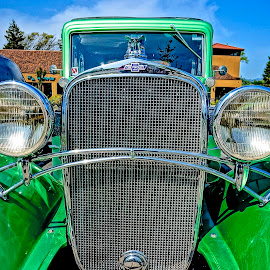 Old Hornet by Barbara Brock - Transportation Automobiles ( green car, classic car, car grill, antique car, antique automobile )