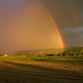 Rainbow Summer by Ioan-Dan Petringel - Landscapes Weather ( weather, romania, landscape, rainbow, transylvania )
