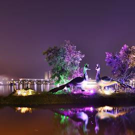 eco park by Kuntal Das - City,  Street & Park  City Parks ( water, reflection, park, night, light )