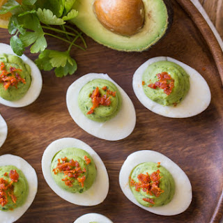 Smoky Bacon Avocado Deviled Eggs
