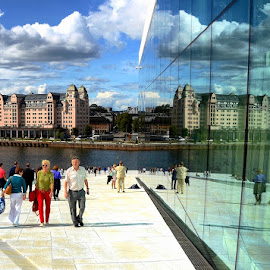 Reflecting glass wall by Francis Xavier Camilleri - City,  Street & Park  Street Scenes ( clouds, walking, reflection, sky, oslo, sea, people, norway )