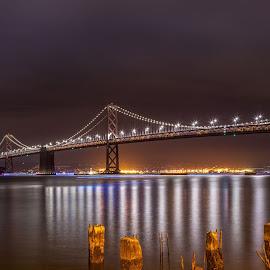 Fireworks,Super Bowl 50 San Francisco by Julio Gonzalez - Buildings & Architecture Bridges & Suspended Structures ( night  poto, superbowl, baybridge, fireworks, san francisco )