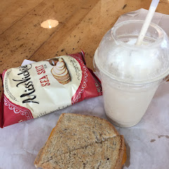 Grilled cheese on gluten free bread along with kettle chips and an espresso shake