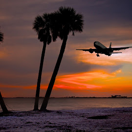 Plane overhead by Alex  Wolf - Landscapes Travel ( alex wolf, landing, plane, wolfproduction.us, sunset, florida, tampa, starting, ocean )