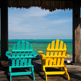 Chairs on a Pier by John Pounder - Artistic Objects Furniture ( adirondack chairs, reef, chairs, pier, ocean, belize, deck )
