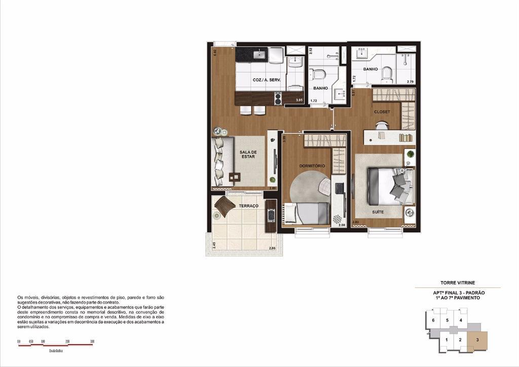 Planta 68 m² do 1 ao 7 Pavimento - Final 3 (Torre Vitrine)