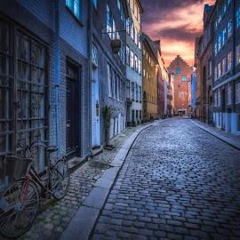 Magstræde by Ole Steffensen - City,  Street & Park  Street Scenes ( copenhagen, cobblestones, bike, street, denmark, københavn, magstræde )