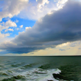 Gathering Storm by Jim Schlett - Landscapes Waterscapes ( clouds, sky, obx, blue, waves, sea, ocean, storm, nc. beach,  )