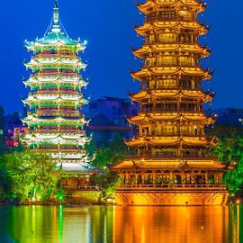 by Thomas Larkin - Buildings & Architecture Public & Historical ( pagoda, guilin china, reflections, night, guilin, china )