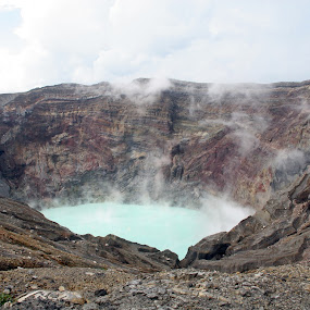 Boiling Volcano by Bill Bettilyon - Landscapes Mountains & Hills ( crater, aso national park, volcano, caldera )