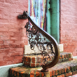 Forget  by Brian Hollars - Buildings & Architecture Other Exteriors ( old, rails, bricks, steps, entrance, iron )