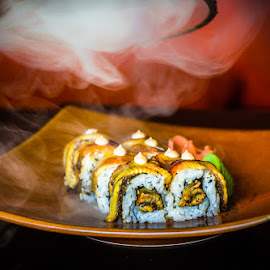 Smoked Sushi by Ferveez Mohideen - Food & Drink Plated Food ( rice, food, sushi, plate, hot, japanese, smoked, delicacy )
