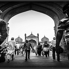 on his door step by Debasis Banerjee - Buildings & Architecture Places of Worship ( monuments, old buildings, chandni chawk, mughal architecture, mosque, india, heritage site, jama masjid )