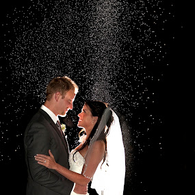 by Melissa Papaj - Wedding Bride & Groom ( love, vows, flash, night photography, wedding, bride, groom,  )
