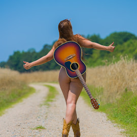 It's All Good by Brian Brown - Nudes & Boudoir Artistic Nude ( music, walking, nude, freedom, guitar boots, road, curves, country, nature, woman, outdoors, booty, butt, dirt, hair, natural,  )