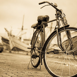 Sunda Kelapa by Eko Probo D Warpani - Transportation Bicycles ( sepia, black and white, indonesia, jakarta, transportation, lonely, bicycle,  )