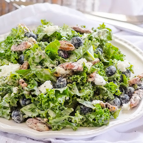 Kale, Blueberry, Goat Cheese and Candied Pecans Salad