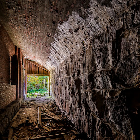 Out to the light by Juha Kauppila - Buildings & Architecture Public & Historical ( old, green, corridor, dark, light )