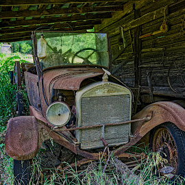 Rusty Old Car by Sandy Friedkin - Transportation Automobiles ( car, old, vintage, rust, crank )