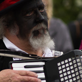 Playing by Marc Steele - People Musicians & Entertainers ( countryside, uk, accordion, morris, wellow, may day, instrument, black pig border morris, rural, pig, country, england, bank holiday, nottinghamshire, event, black, dancer )
