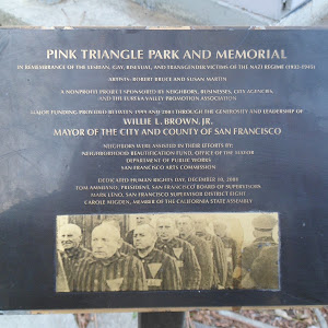 PINK TRIANGLE PARK AND MEMORIAL IN REMEMBRANCE OF THE LESBIAN. GAY, BISEXUAL, AND TRANSGENDER VICTIMS OF THE NAZI REGIME (193-1945) By Zboralski - Own work, CC BY-SA 3.0, ...