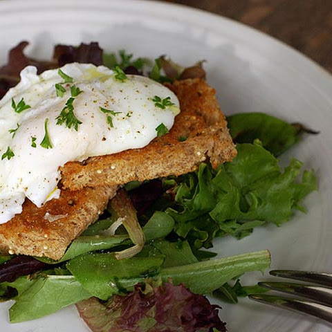 Poached eggs with Toast and Greens