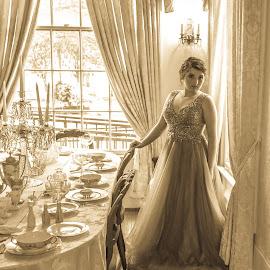 Should i sit by April Sadler - Black & White Portraits & People ( #model #blackandwhite #table #old #elegant #girl )