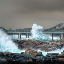 Atlantic road by Jan Helge - Buildings & Architecture Bridges & Suspended Structures ( wave, ocean, bridge, atlantic road, norway )