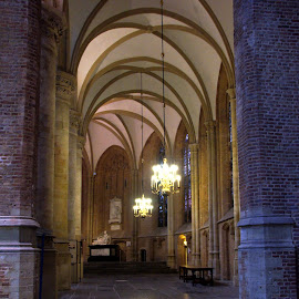 Isle  Oude Kerk, Delft, The Netherlands by Anita Berghoef - Buildings & Architecture Places of Worship ( interior, isle, church, arch, oude kerk, arches, the netherlands, place of worship, architectural, architectural detail, architecture, delft )