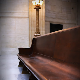 Union Station - Chicago  by Tricia Scott - Buildings & Architecture Other Interior ( interior, chair, bench, station, union station, architecture, light, trains )