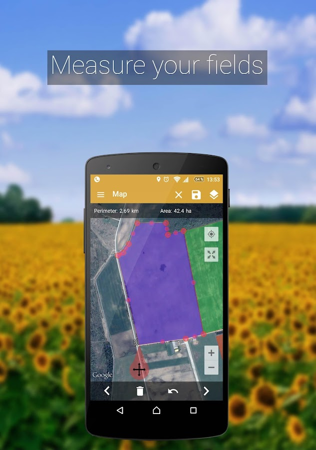 GPS Fields Area Measure adfree Screenshot 1
