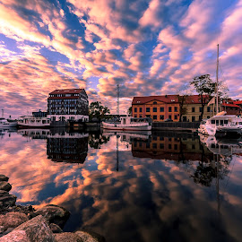 Old City Lines by Ruslan Bolgov - City,  Street & Park  Skylines ( water, clouds, reflection, old port, klaipeda, old town, lithuania, cityscape )