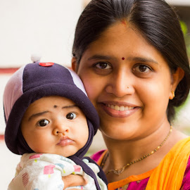 The Blissful eyes by Prajwal Ullal - People Family ( new born, mother, baby, portrait, eyes )